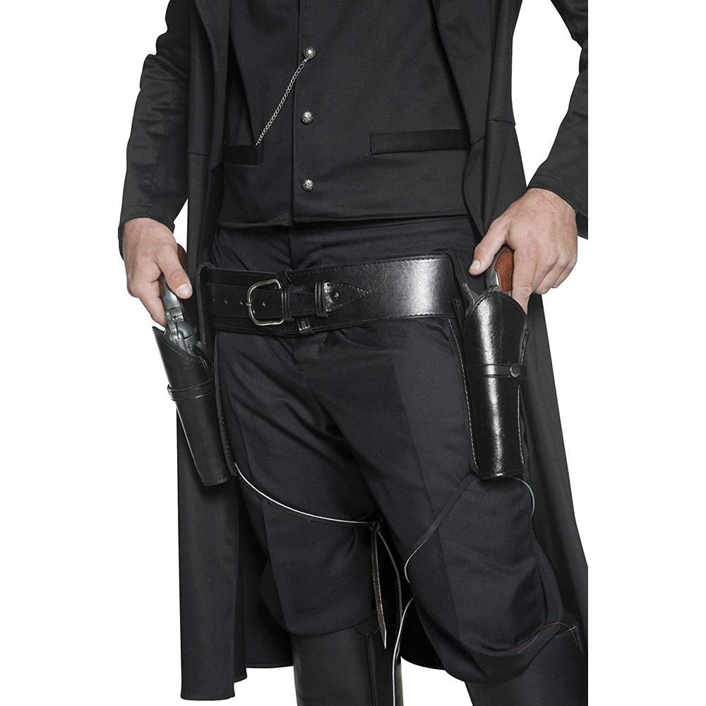 Man in Black Costume - Westworld Fancy Dress - Man in Black Gun Holster