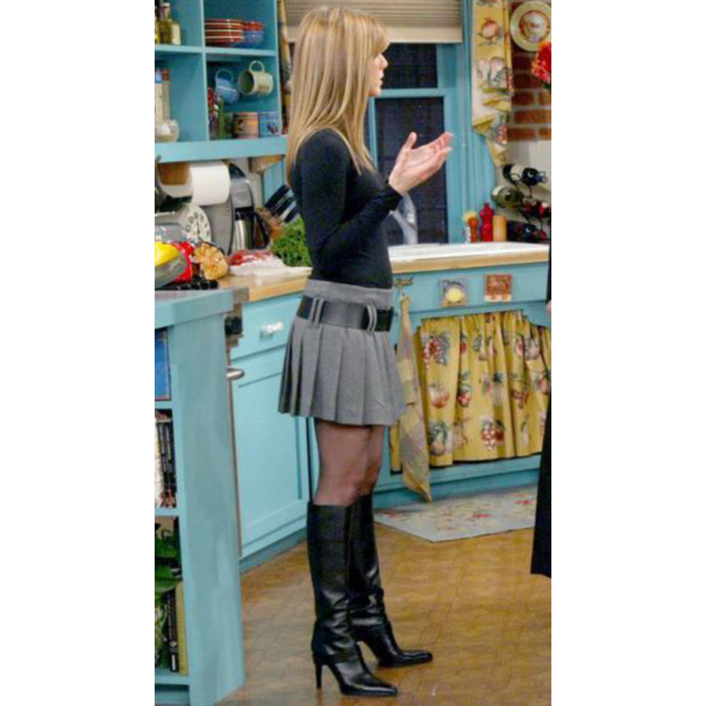 Rachel Green Costume - Dress Like Rachel Green - Rachel Green Boots and Pantyhose and Pleated Skirt Plaid Skirt