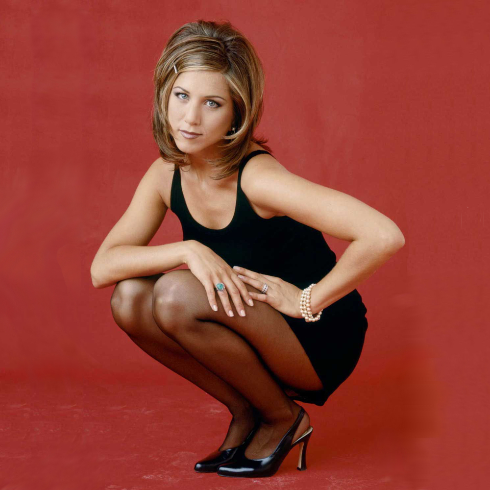 Rachel Green Costume - Dress Like Rachel Green - Rachel Green Pantyhose and Black Dress