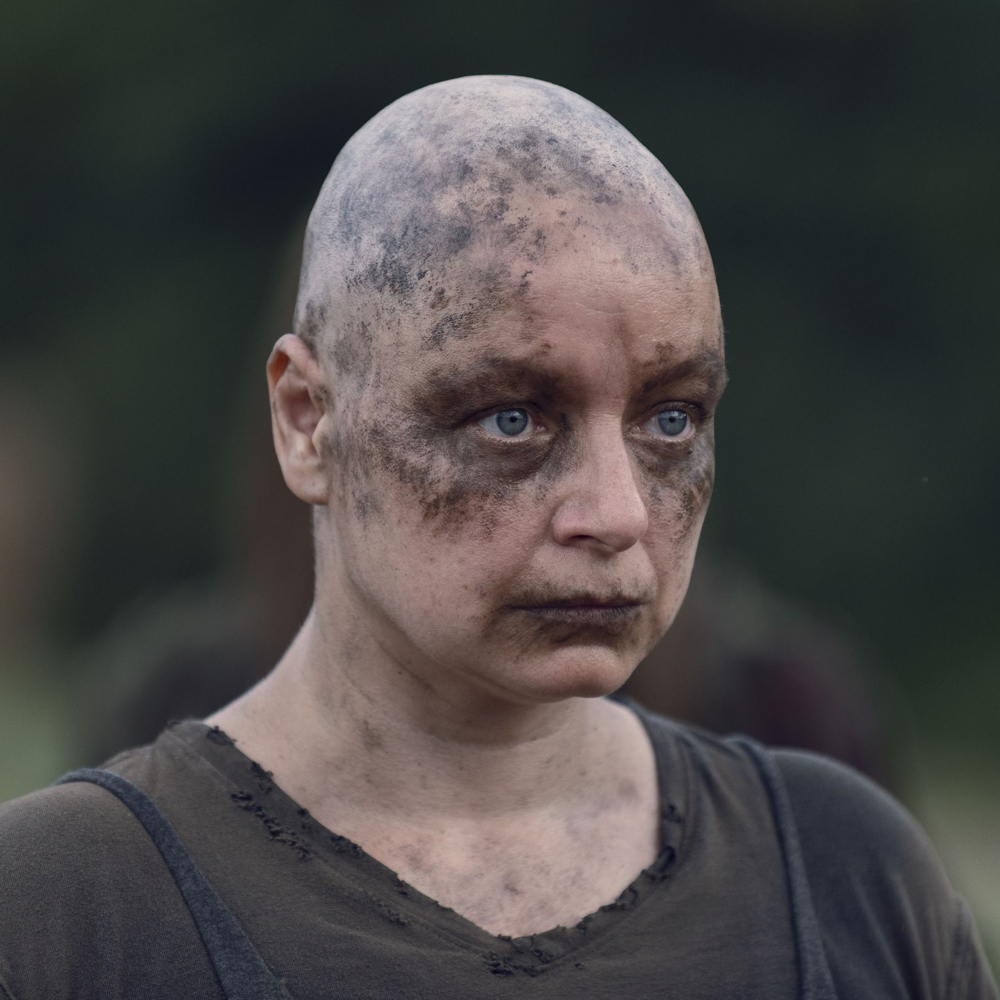 Alpha Costume - The Walking Dead Fancy Dress - Alpha Bald Skull Cap