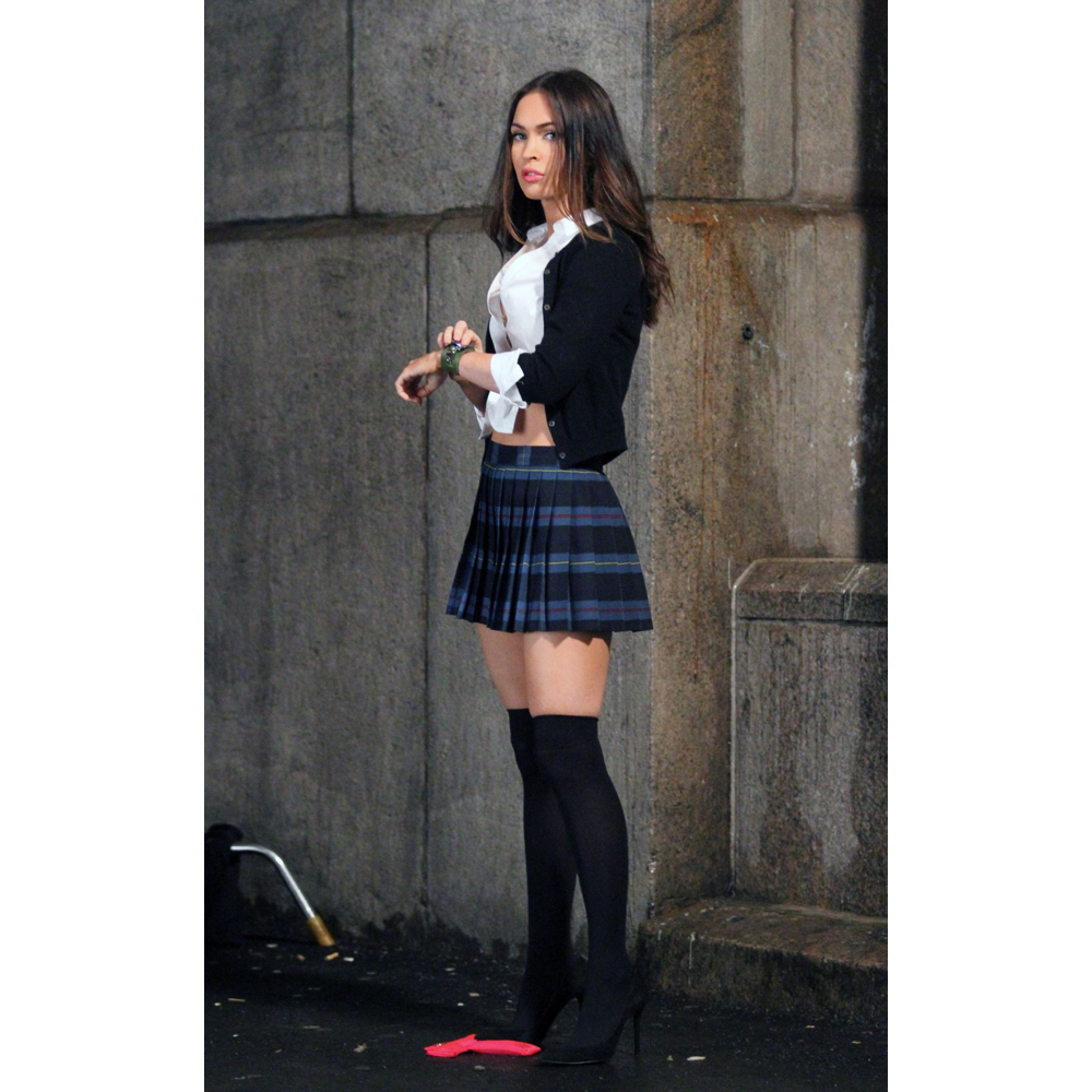 April O'Neil Costume - Megan Fox Schoolgirl - Teenage Mutant Ninja Turtles Fancy Dress - April O'Neil High Heels - Megan Fox Legs - Megan Fox Stockings - Megan Fox High Heels