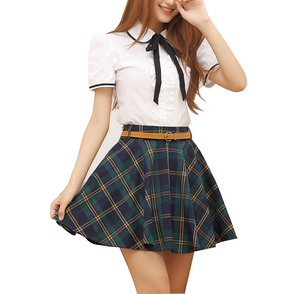 April O'Neil Costume - Megan Fox Schoolgirl - Teenage Mutant Ninja Turtles Fancy Dress - April O'Neil Skirt - Megan Fox Legs - Megan Fox Stockings - Megan Fox High Heels