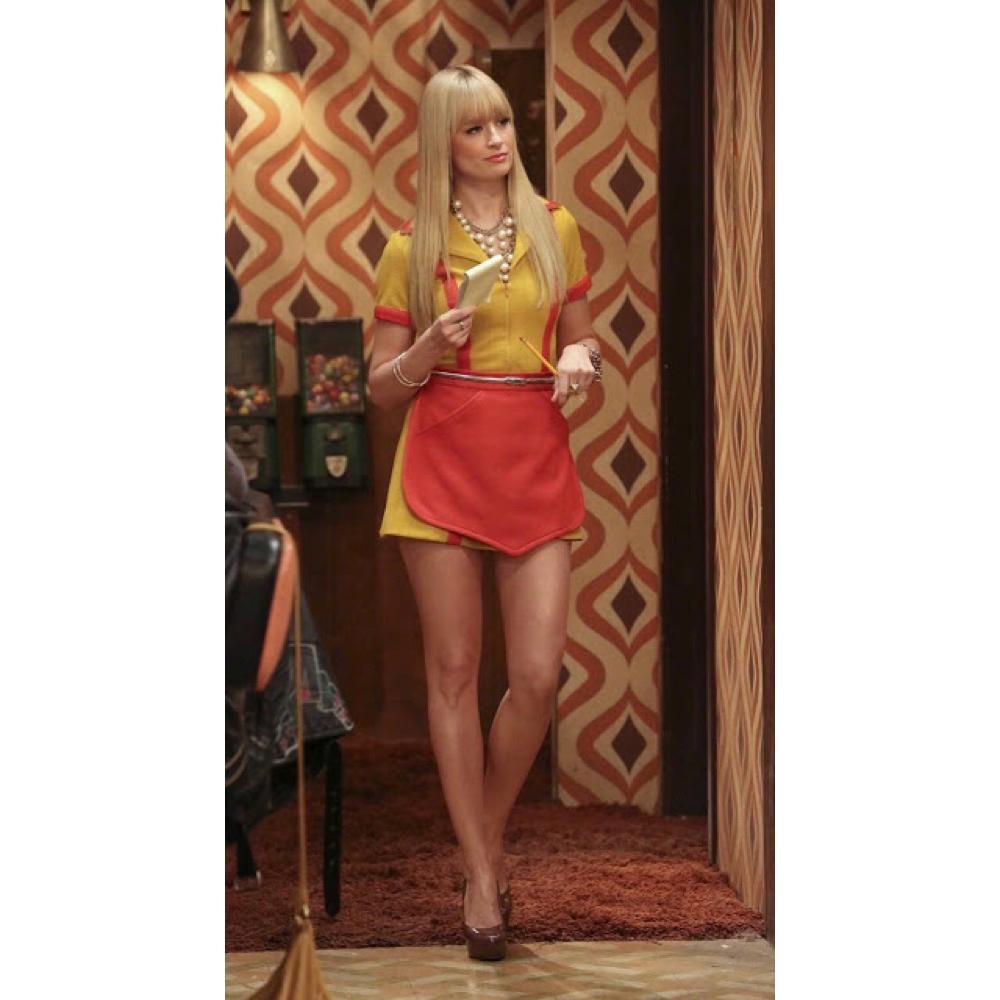 2 Broke Girls Costume - 2 Broke Girls Fancy Dress - 2 Broke Girls Waitress Uniform - Max Waitress Uniform - Beth Behrs Legs - Beth Behrs High Heels