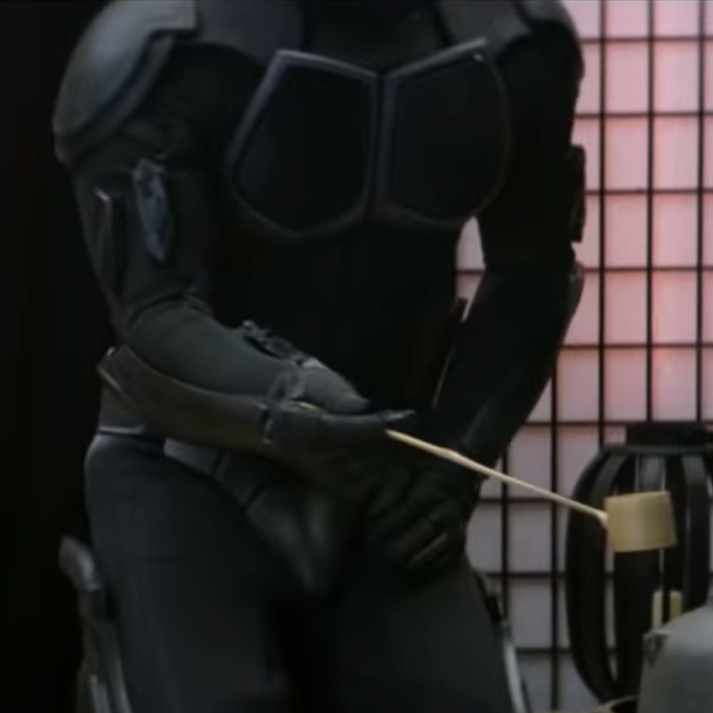 Black Noir Costume - The Boys Fancy Dress - Back Noir Groin Protector