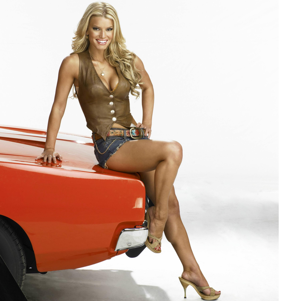 Daisy Duke Costume - The Dukes of Hazzard Fancy Dress - Daisy Duke Shorts - Jessica Simpson High Heels - Jessica Simpson Legs - Jessica Simpson Legs