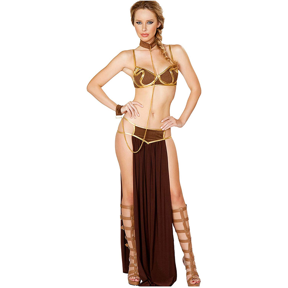 Princess Leia Slave Costume - Star Wars Return of the Jedi Fancy Dress - Princess Leia Slave Bikini