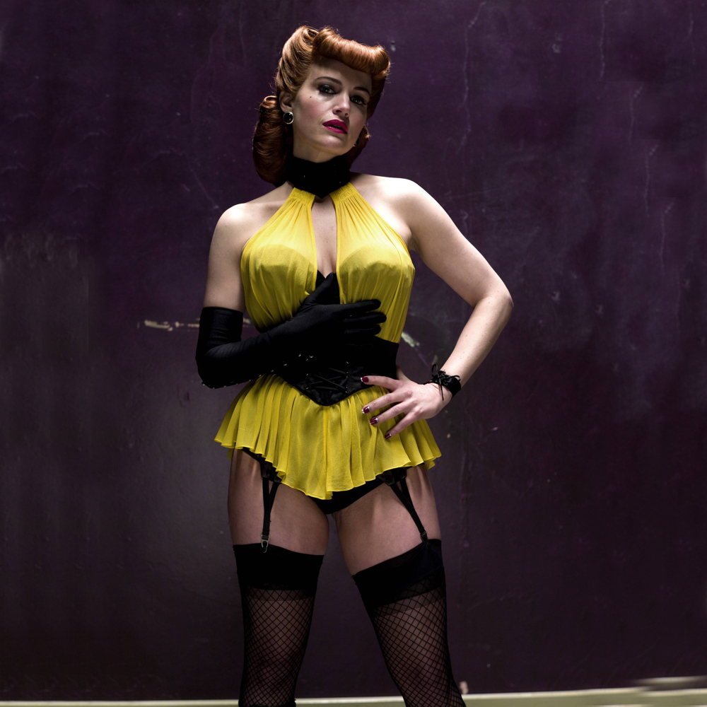 Silk Spectre Costume - Watchmen Fancy Dress - Silk Spectre Garter Belt - Carla Gugino Legs - Carla Gugino Stockings - Carla Gugino Boots