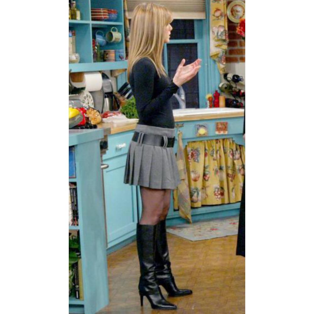 Rachel Green Costume - Dress Like Rachel Green - Rachel Green Boots and Pantyhose and Pleated Skirt Plaid Skirt